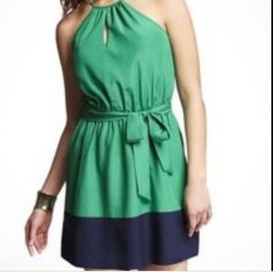 Emerald Green & Navy Blue Key Hole Mini Dress